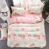 Morbuy Bettwäsche Bettbezug Set 4teilig Hypoallergen Mikrofaser Bettgarnitur Bettwäsche-Set mit Reißverschluss Schließung + 2 Kissenbezüge 1 Bettlaken (180x220cm/1.8M,Flamingo)