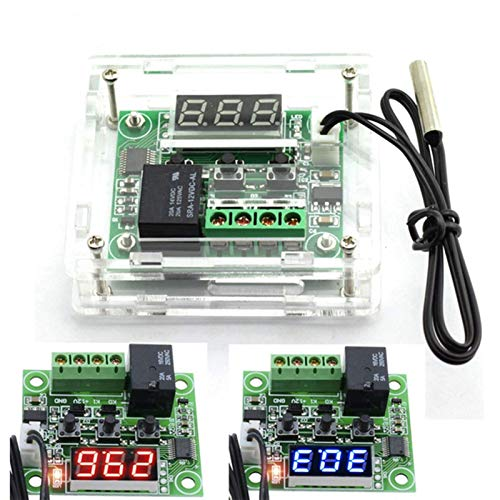 12V Digital Thermostat ModuleTemp Display Temperature Controller Board with 20A Relay Dual LED Display and Red/Blue Light (Color : Blue with case)