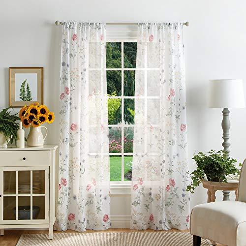 "MARTHA STEWART Marthas Garden Floral Semi-Sheer Rod Pocket Window Curtain Panel Pair, 84"", Multi"