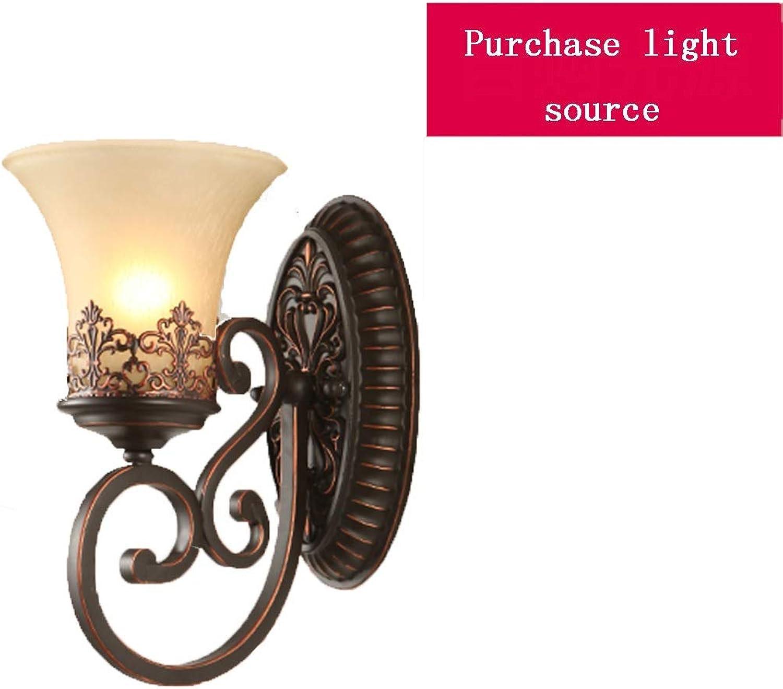 Wandleuchten Amerikanischer Stil Schlafzimmer Gang Nachttischlampe Spiegel Scheinwerfer 24.2cm Wohnzimmer Wand LED-Licht Geschenk Braun (Farbe   braun, Größe   24.2  15.5  29.5cm)
