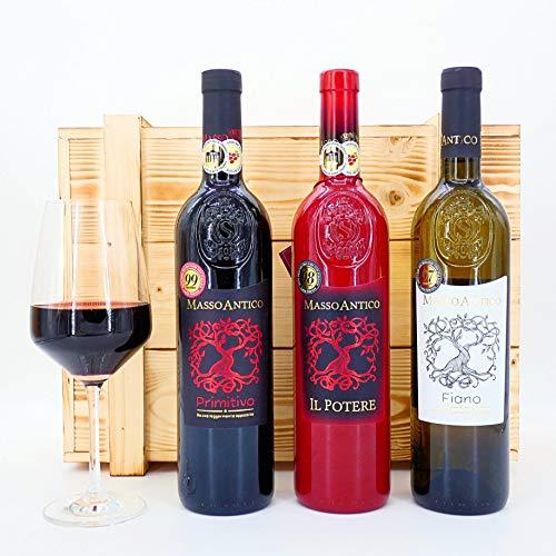 algawe Wein Geschenk Masso 3er Holzkiste | Geschenkbox | Italienischer Rotwein Primitivo 0,75l | Il Potere 0,75l | Weißwein Fiano 0,75l