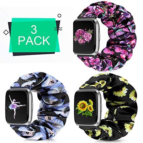 Runostrich Scrunchie Strap Soft Pattern Elastic Wrist Bracelet Strap Floral Breathable Replacement Band Compatible with Fitbit Versa/Versa 2/Versa Lite/SE (L, A+E+I B-P Flower+Sunflower+Ballet)