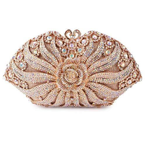 ZHBD Bolsas De Noche Hechas A Mano De Las Mujeres, Bolsos De Embrague De Diamantes De Imitación para El Bolso Elegante De La Fiesta De Bodas
