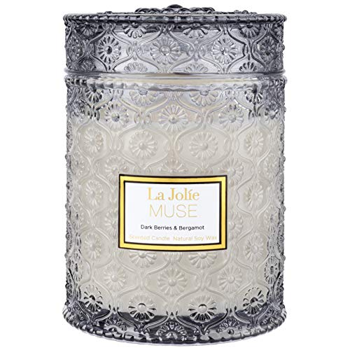 LA JOLIE MUSE Dark Berries & Bergamot Scented Candle, Large Glass Jar Candle, Candle Gift,100% Natural Soy Candle for Home, 90 Hours Long Burning, 550 G
