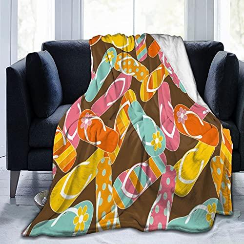 Coperta Flannel in Pile,Modello colorato di sandali infradito a mazzetto Rilassati a tema per il bagno di sole per Morbido Accogliente per Bambini Ragazzi Adulti Coperta per Letto e Divano 125x100cm