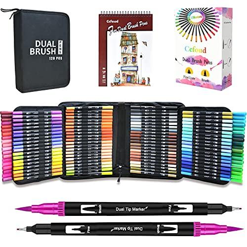 Ccfoud Dual Brush Markers Pens, 120 Colors Dual Tip Art Markers (Fineliner & Brush), Water Based Coloring Brush Pens Markers Set for Kids Adult Coloring Book, Calligraphy, Drawing