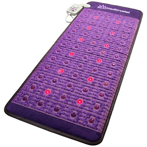 "Far Infrared Amethyst Mat Midsize 59""L x 24""W + Natural Agate Gems - 4, 8, 10, 14 Hz PEMF Bio Magnetic Pulsation - Red Light Photon Therapy - FDA Registered Manufacturer -Negative Ion -FIR Heating Pad"
