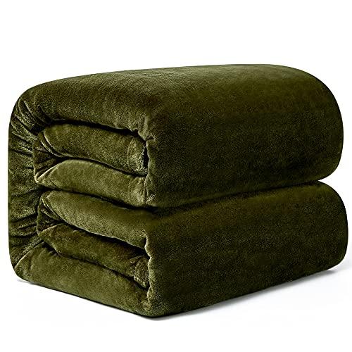 Hansleep Kuscheldecke Dunkelgrün 270x230 cm Wohndecke Fleecedecke extra Weich und Warm Sofadecke/Couchdecke Flauschige Decke Mikrofaser Bettüberwurf Tagesdecke