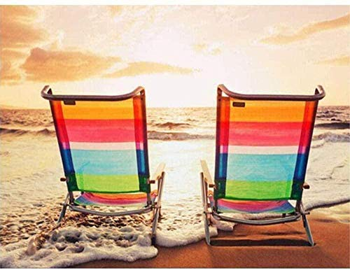 Paint by Numbers for Adults Beach Chair Kids Paint by Numbers DIY Painting Acrylic Painting Kit Beginners Home Wall Living Room Bedroom Decoration(40X50CM-Without Frame)