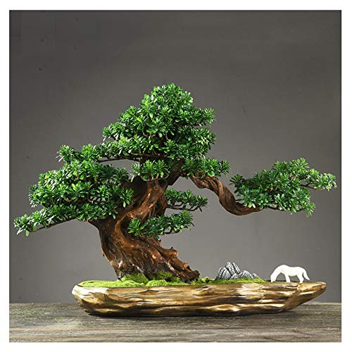 kerryshop Planta Artificial Simulación Bonsai Belledec Pine Adornos de Pino Sala de Estar Pórtico Decoración Artesanía Apertura Planta de Regalo ARBO Artificial (Color : F)