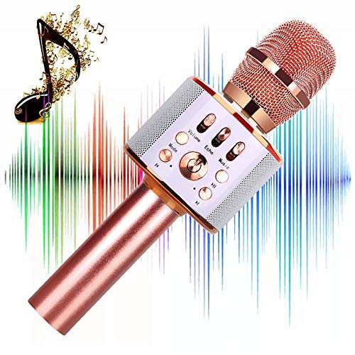 Microphone for Kids Children Karaoke Microphone Wireless Bluetooth Microphone 4-in-1 Toy Microphone Echo Mic Karaoke Machine Portable Microphones Christmas Birthday Gifts for Age 4,5,6,7,8 (Rose)