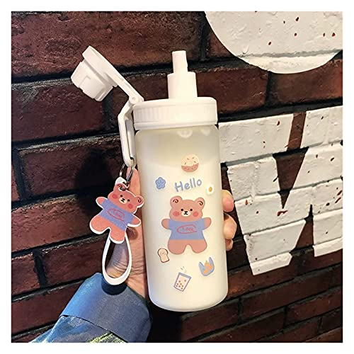 Taza de paja Dibujos animados colorido lindo oso botellas de cristal botella de moda botella de vidrio vidrio gafas de paja simple taza de agua botella regalo ( Capacity : 500ml , Color : Style3 )