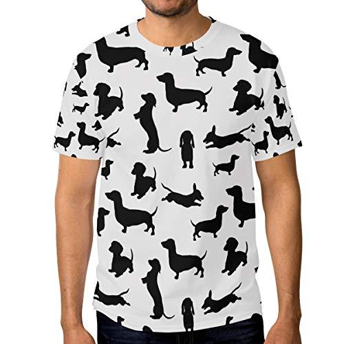 FANTAZIO - Camiseta de Manga Corta para Hombre, diseño de Perro Salchicha