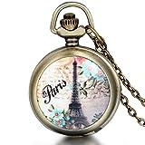 JewelryWe Montre de Poche Romantique Elégant Tour Eiffel Paris Fleur Quartz Pendentif Collier Alliage Fantaisie pour Homme et Femme Couleur Bronze Multicolore avec Sac Cadeau
