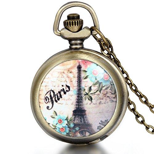 JewelryWe Herren Damen Taschenuhr, Paris Eiffelturm schöne Blumen Uhr Anhänger Analog Quarz Kettenuhr Pullover Halskette Kette, Mehrfarbig