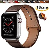 Qeei Compatible with Apple Watch Correa 42mm 44mm,Innovador Hebilla Piel Genuina Encubierto Hebilla Ensure Clean Fit Correa Replacment for iWatch Series 5 & 4 3/2/1,Chocolate Brown