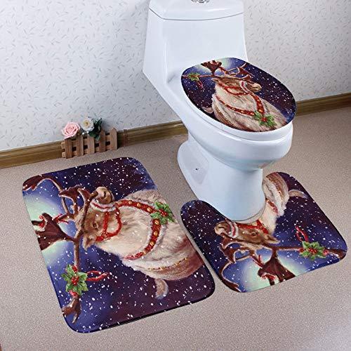 Hrioaln Badematten Set 3Teilig,Polyesterfaser, Badematten Set 3tlg, Toilettenmatte Set, 4teilig Badgarnitur Badematte,Rutschfester Badvorleger,WC,Weihnachten