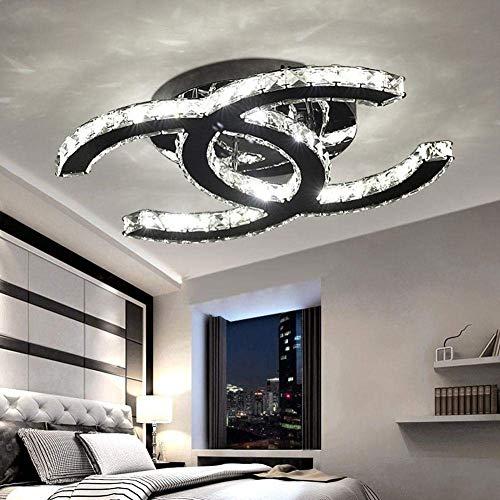 Luz de techo simple moderna 28W regulable K9 Lámpara de techo de cristal claro Luz de acero inoxidable for sala de estar Dormitorio Isla de cocina 3000-6000K