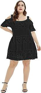 JDJREN Vestido Largo Mujer Primavera Verano Talla Grande, Fiesta Vestido, Vestido Sin Tirantes De Encaje Y9919,Black,XXXL