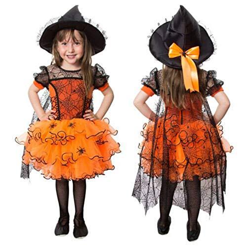 MINASAN - Disfraz de araña de tul para fiesta de baile, vestido de encaje naranja 2-3 años