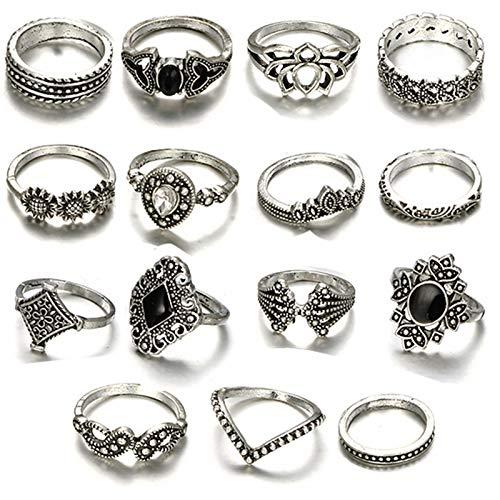 44 Stücke Midi Ring Böhmischen Knuckle Ring Sets Mode Finger Vintage Silber Stapelbar Ringe für Frauen Mädchen Knuckle Midi Ringe (15 Stück)