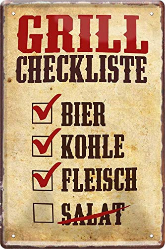 Lista de comprobación de barbacoa: cerveza, carbón, carne. Cartel decorativo de chapa, 20 x 30 cm, 571