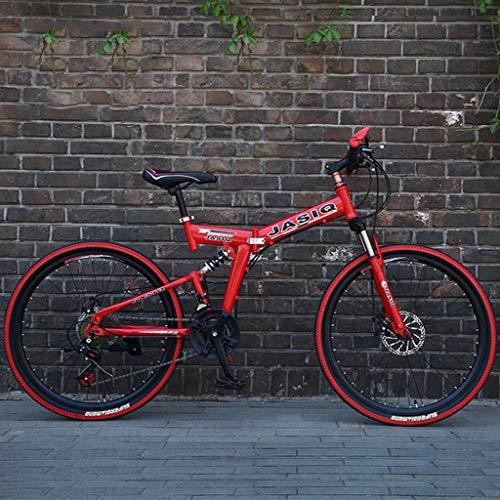 Bicicleta Montaña MTB De 26 pulgadas de bicicletas de montaña, bicicletas hardtail plegable, marco de acero al carbono, suspensión completa y doble freno de disco, velocidad 21 Bicicleta de Montaña