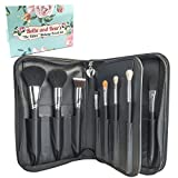 Bella And Bear Makeup Brush Set With Case - For Face And Eyes - Includes Foundation - Contouring - Blending - Blush And Eyeshadow Brushes - Vegan - Guide and Case Included
