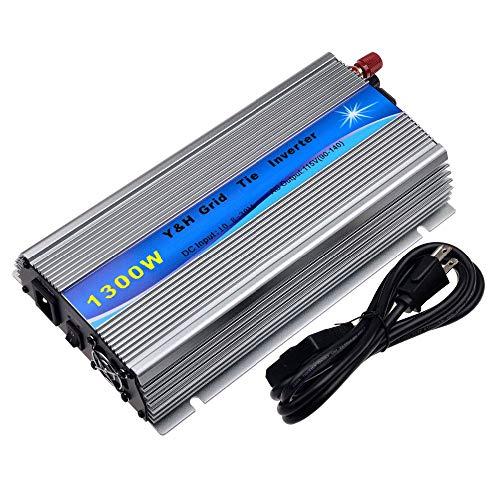 Y&H 1300W Grid Tie Inverter Stackable MPPT Pure Sine Wave DC10.8-30V Solar Input AC110V/120V Power Output fit for 12V PV Panel