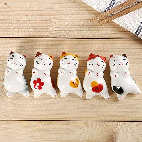 Fukuka 箸置き かわいい 招き猫箸置き 猫箸置き しあわせ猫 食器 磁器 5個セット卓上小物 置物 インテリア ...