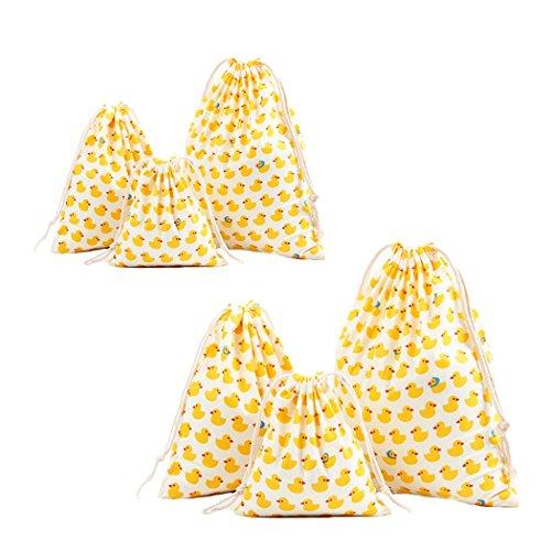 Amoyie – Set borsa per feste viaggio sport, 6 pezzi, sacche coulisse cotone, pochette Make up, sacchetti per pannolini cotone, organizer abiti, giocattoli, matite colorate, gioielli, caramella, regalo