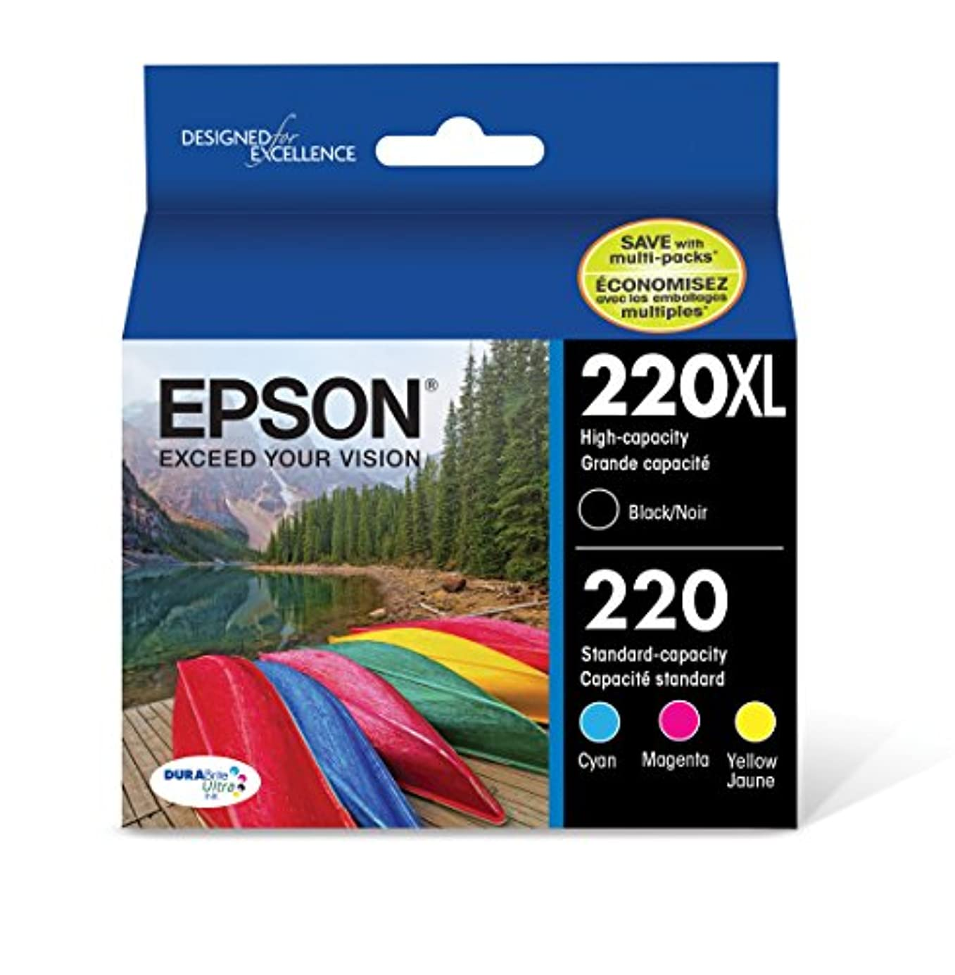 Epson T220XL-BCS Cartridge Ink, 4 Pack, Black, Cyan, Magenta, Yellow lhukoi8611