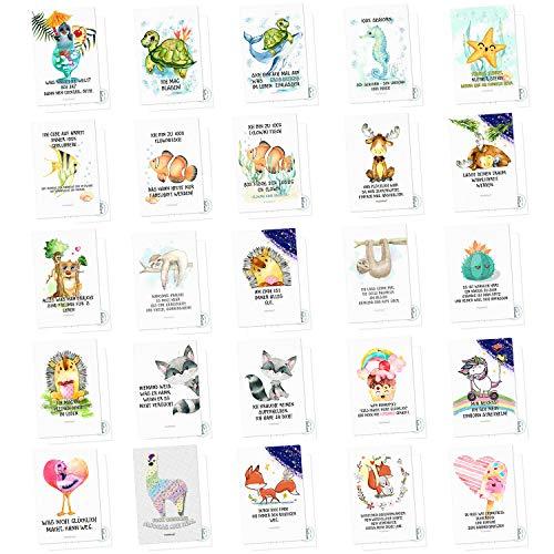 Sunnywall Set 25 Postkarten zuckersüße Motive mit Sprüchen - Karten mit Spruch Geschenk Geschenkidee Geburtstagskarten Geburtstag Liebe Freundschaft Leben Motivation lustig (1-25 Postkarte)