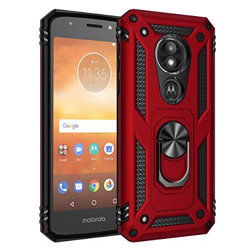BestST Motorola Moto E5 Play Hülle, für Motorola Moto E5 Play Schutzhülle 360 Grad Drehbar Ringhalter mit Magnetischer Handyhalter Auto Handy hülle + Panzerglas Bildschirmschutz - Rot