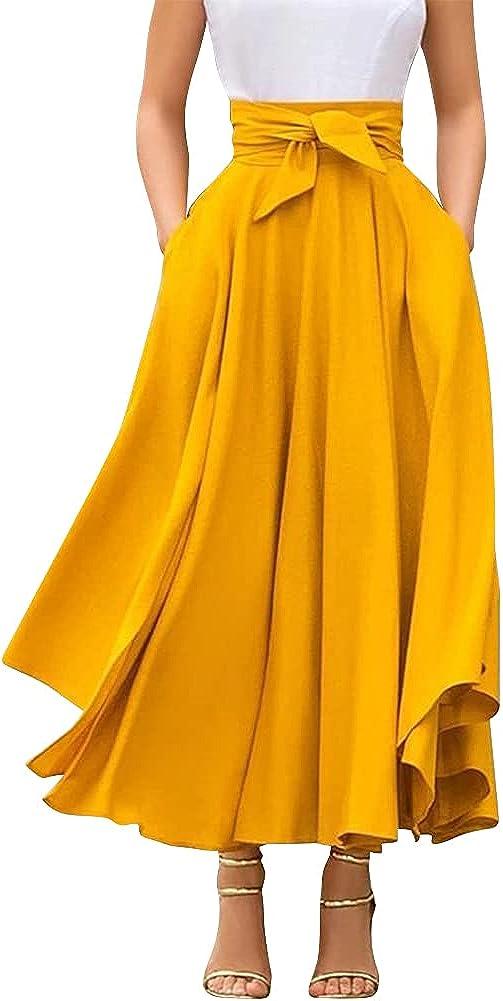 Women's High Waist Long Skirt A-Line Pockets Skirt Flared Vintage Skirt