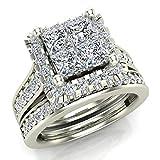 Princess Cut Wedding Rings Set for Women 14K White Gold Quad Illusion 1.80 ct tw (J, I1) (Ring Size 7)