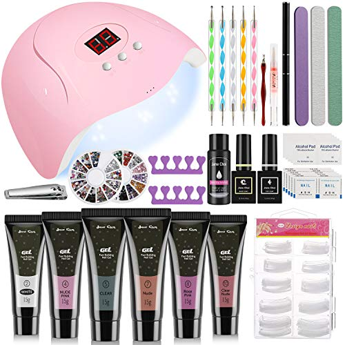 Gel Gelnägel Set Starterset+54W LED UV Lampe für Gelnägel, 6 Farben UV Gel Nagellack Sets Acryl Nagelset Nagelstudio Set Nageldesign Starter Set+100 Künstliche Nägel+Nagelfeile+Gel Nägel Pinsel(A)