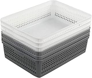 Morcte 6-Pack Plastic Paper Storage Baskets File Organization Trays, Gray and White