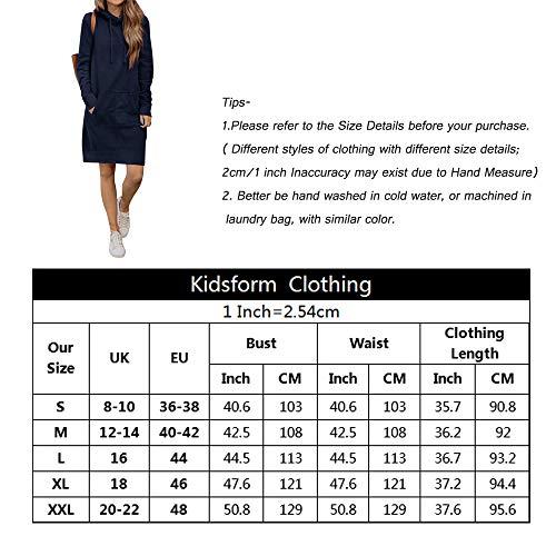 Kidsform Sudadera con Capucha para Mujer Hoodie Mujer Sudadera con Capucha de Otoño Sudadera con Bolsillo Sweatshirt Mujer I-a Gris Oscuro M