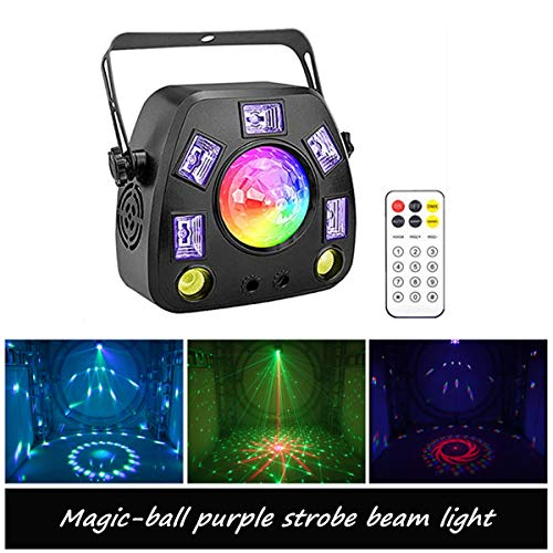 ZKYMZL Party Lights Stage Lights, RGBWP 4 in 1 Mixed Lighting Effects LED Magic-ball Strobe Light by DMX and Remote Control Sound Activated for DJ Disco Lights Wedding Birthday Club…