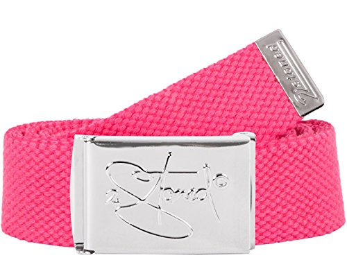 2Stoned Hosengürtel Schmal Neon-Pink, Chromschnalle Classic, 3 cm breit, Textil-Gürtel für Damen