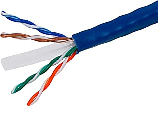 Monoprice Cat6 Ethernet Bulk Cable - Network Internet Cord - Solid, 500Mhz, UTP, CMR, Riser Rated, Pure Bare Copper Wire, 23AWG, 1000ft, Blue - 108103