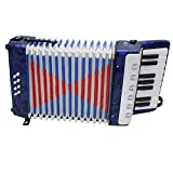 ammoon Mini pequeño 17 teclas 8 acordeón de bajo educativo instrumento musical juguete para niños aficionados regalo de Navidad, azul oscuro