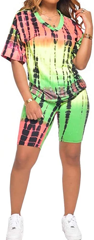 Women's Sexy 2 Piece Club Outfits Tie Dye Workout V Neck Tops Shirt Biker Shorts Set Summer Active Tracksuits