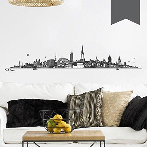 WANDKINGS Wandtattoo - Skyline Ulm (ohne Fluss) - 135 x 24 cm - Dunkelgrau - Wähle aus 6 Größen & 35 Farben