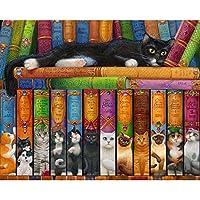 ダイヤモンドアート 5D DIYダイヤモンド絵画猫アンプブック刺繍クロスステッチ5D家の装飾ギフトフルスクエア/ラウンドドリル MDYJP (Color : 1, Size : Round Drill 50x60cm)