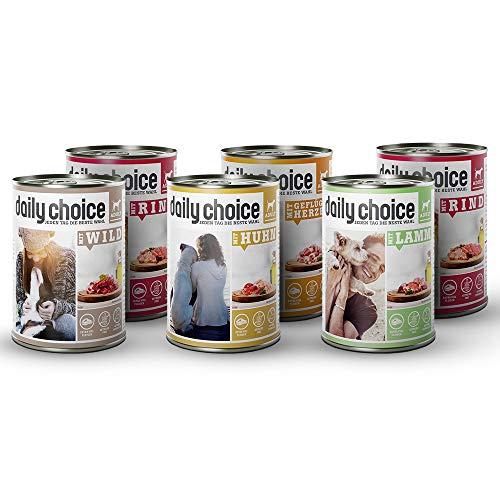 daily choice | 12 x 800 g | Nassfutter für Hunde | getreidefrei | Mix | 70{b01c79d79d43a7e3f9a9c7661b312a43a29b66290671914560fbb78607c09a43} Frischfleisch- und Innereienanteil Optimale Verträglichkeit