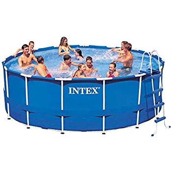 Intex 15ft X 48in Metal Frame Pool Set with Filter Pump Ladder Ground Cloth & Pool Cover
