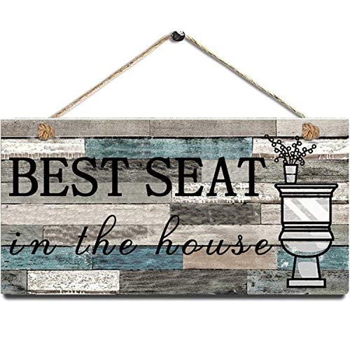 "Funny Bathroom Wall Decor Signs, Printed Best Seat Wood Plaque - Farmhouse Rustic Home Bathroom Decorations Hanging Wall Art Sign Size 12"" x 6""(Blue-Black)"