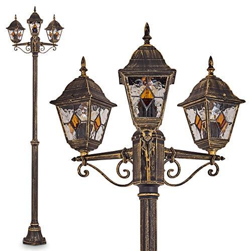 Außenleuchte Antibes, Kandelaber in antikem Look, Aluguß in Braun/Gold mit Klarglas-Scheiben, 3-armige Wegeleuchte 225 cm, 3 x E27-Fassung, je max. 60 Watt, Retro/Vintage Gartenlampe IP44